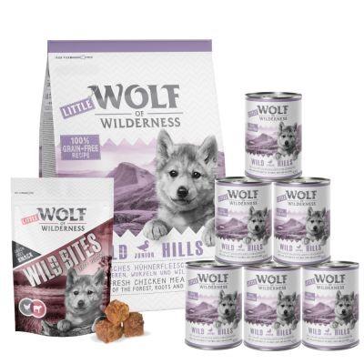 Set prova misto! Little Wolf of Wilderness Junior secco + umido + snack