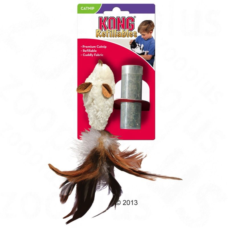 KONG Feather Mouse con erba gatta
